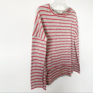 BB Dakota Sweaters - BB Dakota Gray & Red Striped Sweater